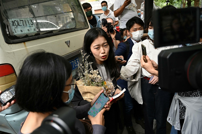 Zhou Xiaoxuan llega al tribunal de Pekín, el 14 de septiembre de 2021