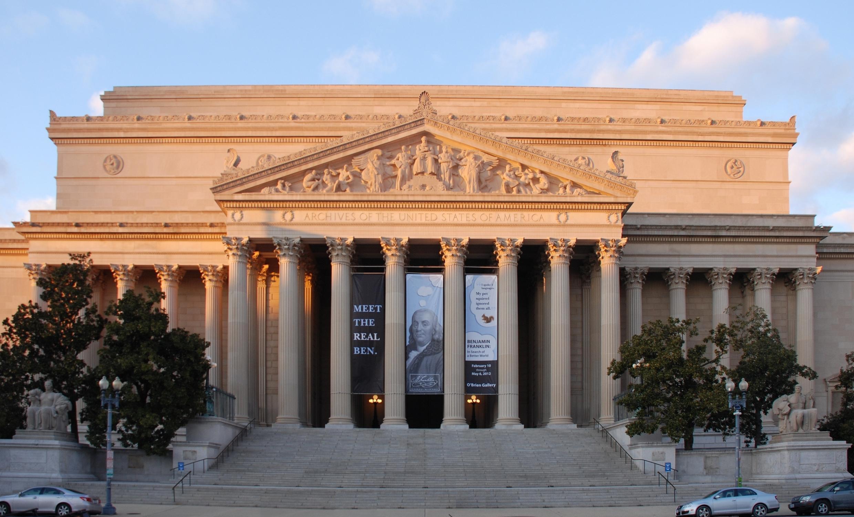Le bâtiment des Archives nationales américaines à Washington DC en 2012.