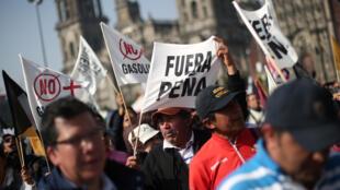 Manifestación contra el gasolinazo en México, este 8 de enero de 2017.