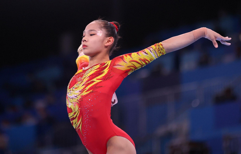 東京奧運會中國選手唐茜靖在平衡木上2021年7月27日