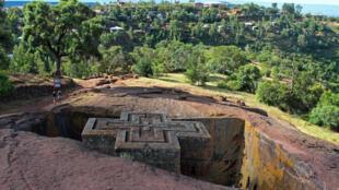 L'église de Saint-George, chef-d'oeuvre creusé d'un bloc dans la roche volcanique de Lalibela, en région Amhara, au nord de l'Ethiopie.