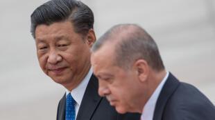 图为土耳其总统埃尔多安2019年7月2日到访北京与中国国家主席习近平一起