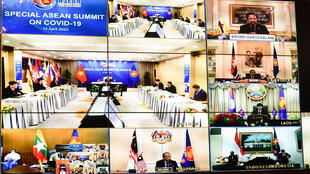 Quang cảnh một phiên họp trực tuyến của ASEAN về dịch Covid-19 do thủ tướng Việt Nam, Nguyễn Xuân Phúc, nước chủ tịch luân phiên chủ trì, ngày 14/04/2020.