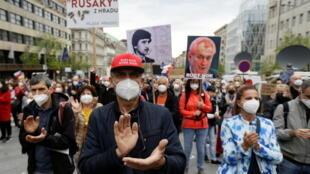 Cuộc biểu tình chống tổng thống Milos Zeman tại Praha, CH Séc, ngày 29/04/2021..