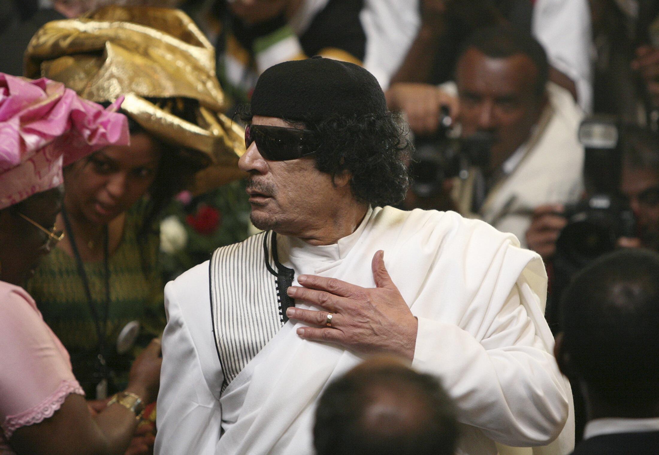 Tsohon shugaban kasar Libya, Moammar Kadhafi.