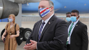 US Secretary of State Mike Pompeo, seen here boarding his official aircraft in Sri Lanka in October 2020, plans a seven-nation trip to US allies following President Donald Trump's loss to Joe Biden
