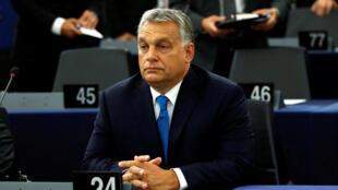 Le Premier ministre hongrois, Viktor Orban au Parlement européen de Strasbourg, le 11 septembre 2018.