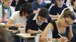 Baccaulauréat students sit their philosophy exam at Malherbe secondary school in Caen
