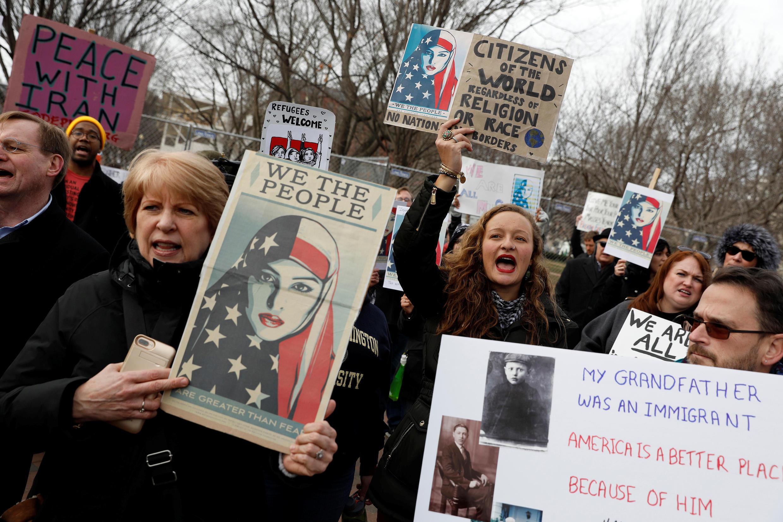 Biểu tình chống sắc lệnh nhập cư của tổng thống Donald Trump ngày 29/01/2017 ở Washington.