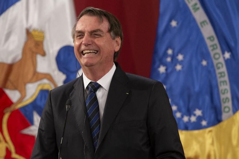 Presidente Jair Bolsonaro durante coletiva à imprensa neste sábado, 23 de março de 2019, em Santiago do Chile.