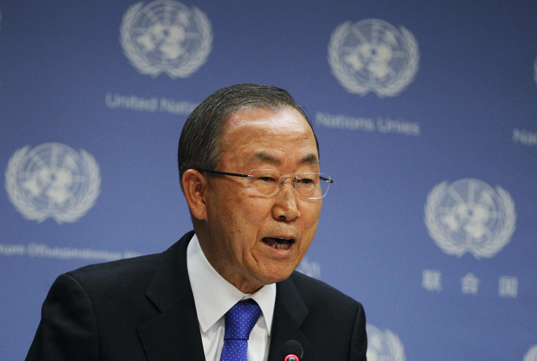 Tổng thư ký Ban Ki-Moon trong cuộc họp báo ở trụ sở Liên Hiệp Quốc, New York, ngày 09/09/2013
