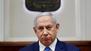 Le Premier ministre israélien Benyamin Netanyahu lors d'un conseil des ministres à Jérusalem, le 17 juillet 2019.