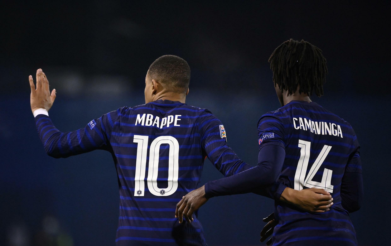 Kylian Mbappe and Eduardo Camavinga together last year playing for France