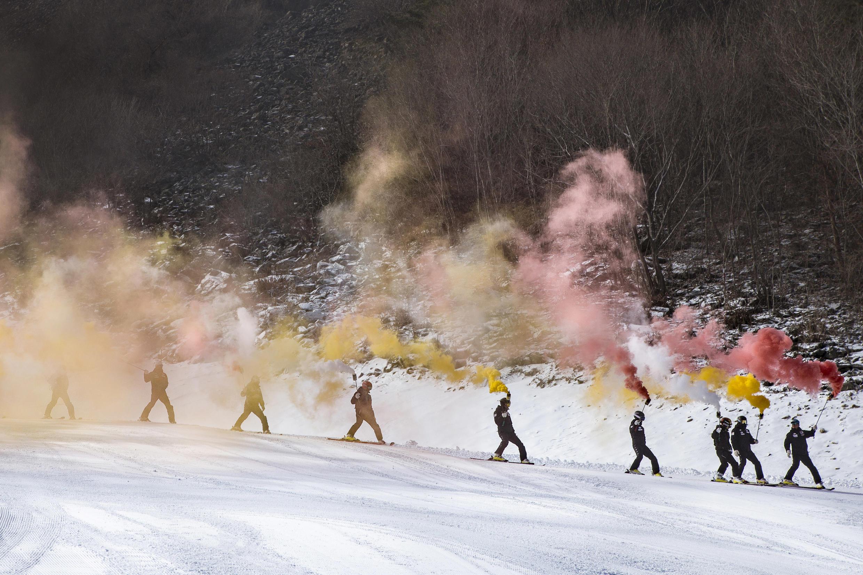 Inauguration de la première piste de ski de Jeongseon, à 200 kilomètres de Séoul, le 22 janvier 2016.