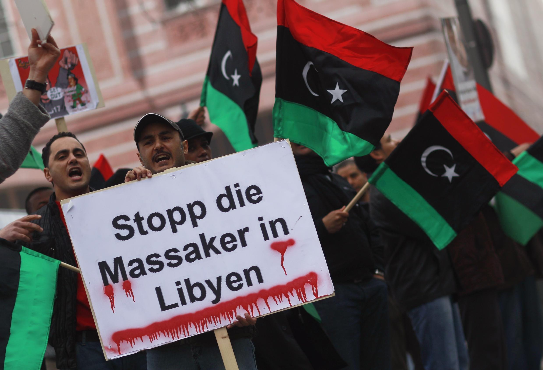 Protestas contra Muamar Kadafi en Alemania