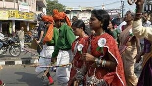 Tribal people, known as Adivasis, demonstrate in Bhopal, the scene of India's biggest-ever industrial accident