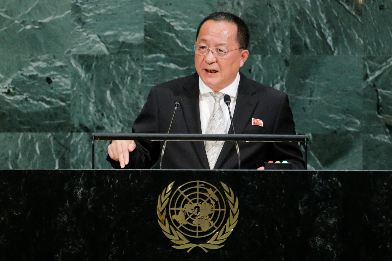 Ngoại trưởng Bắc Triều Tiên Ri Yong Ho phát biểu tại Đại Hội Đồng Liên Hiệp Quốc lần thứ 72, New York, ngày 23/09/2017.
