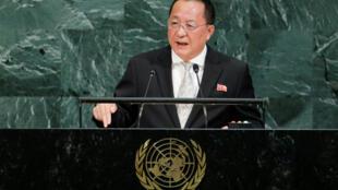 Ngoại trưởng Bắc Triều Tiên Ri Yong Ho tại Đại Hội Đồng Liên Hiệp Quốc, New York, ngày 23/09/2017.