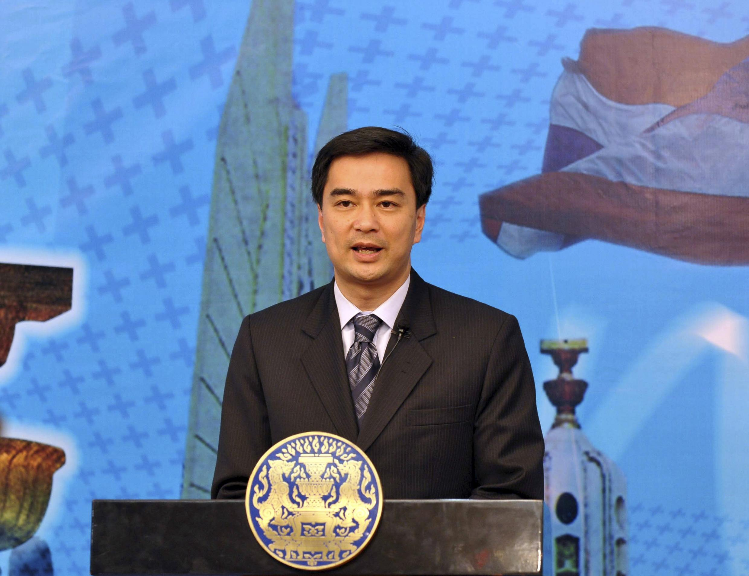 Thailand's Prime Minister Abhisit speaks at a news conference in Bangkok