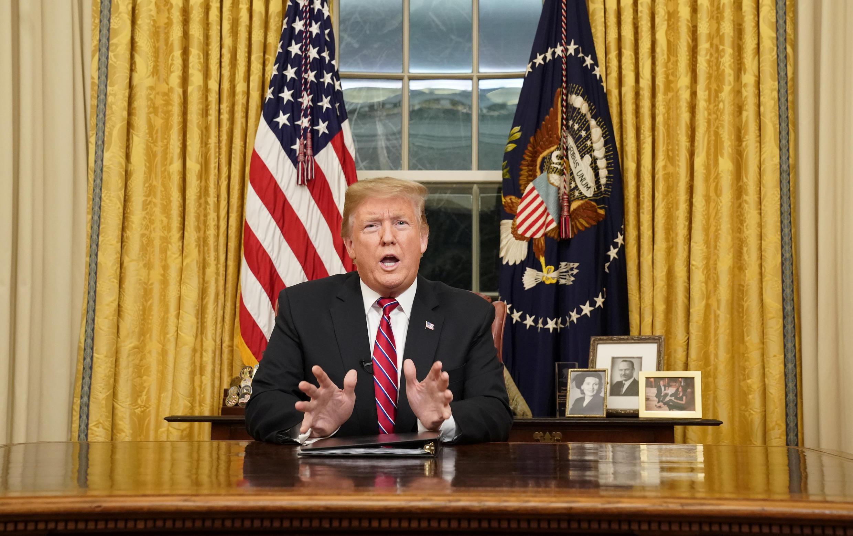 Tổng thống Mỹ Donald Trump phát biểu với quốc dân từ Phòng Bầu Dục về vấn đề nhập cư và biên giới, ngày 08/01/2019.
