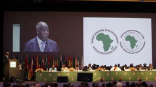 Laurent Gbagbo speaks at the opening ceremony of the annual meeting of the African Development Bank in Abidjan