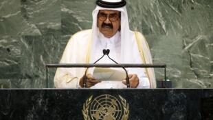 Эмир Катара, шейх Хамид бин Халифа аль-Тани на трибуне Генеральной ассамблеи ООН в Нью-Йорке 25/09/2012