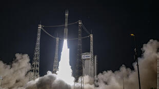 Europe's Vega rocket blasts off from its launchpad in Kourou, at the European Space Centre in French Guiana, on April 28, 2021.