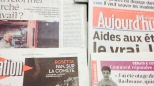 Primeiras páginas dos diários franceses 13/11/2014