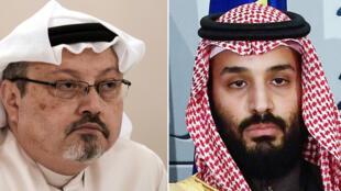El periodista saudita Jamal Khashoggi (izq.), le 15 de diciembre de 2014 en Manama, y el príncipe heredero saudita, Mohamed bin Salmán, el 12 de abril de 2018 en Madrid
