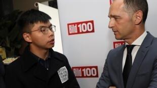 Le militant hongkongais Joshua Wong a rencontré le ministre allemand des Affaires étrangères Heiko Maas, le 9 septembre 2019.