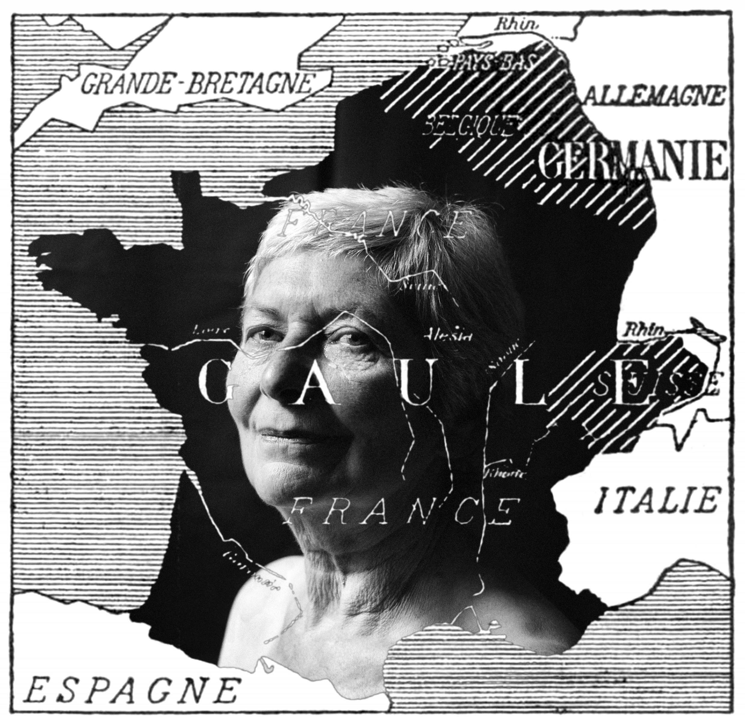 Ed Alcock's elegant black and white portrait of his mother is 'gallicised' and thus made European, by being rephotographed on a simple map of France