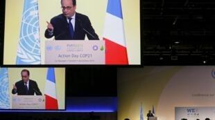 """O presidente francês, François Hollande, discursa no encerramento do """"dia da ação"""" na COP 21"""