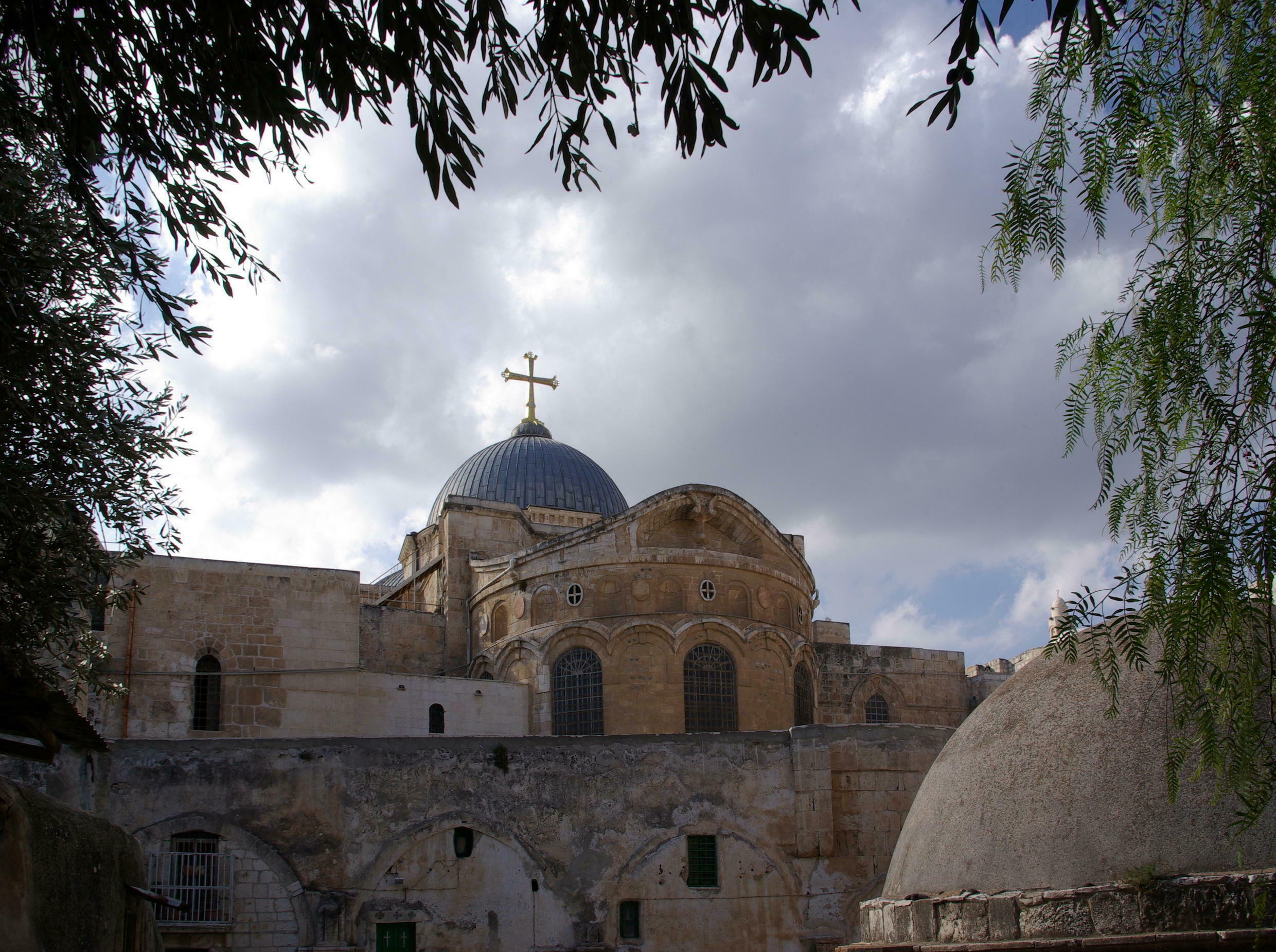 On the roof of the Church of the Holy Sepulchre in Jerusalem.