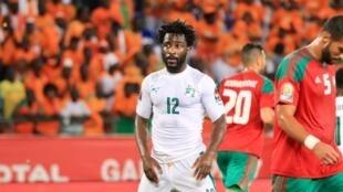 Mshambuliaji wa Ivory Coast  Wilfried wakati wa mchuano dhidi ya Morocco