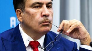L'ancien président de Géorgie Mikheil Saakashvili, en mai 2018 à La Haye, aux Pays-Bas.