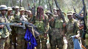 Ugandan soldiers near the Democratic Republic of Congo in 2008.