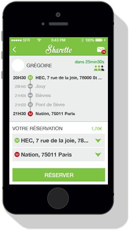 L'application Sharette sur téléphone portable