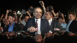 Antonis Samaras, leader of the conservative New Democracy party in Greece on Sunday 17 June
