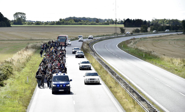 Des migrants, principalement venant de Syrie, marchent sur une route danoise en direction de la Suède, ce 7 septembre 2015.