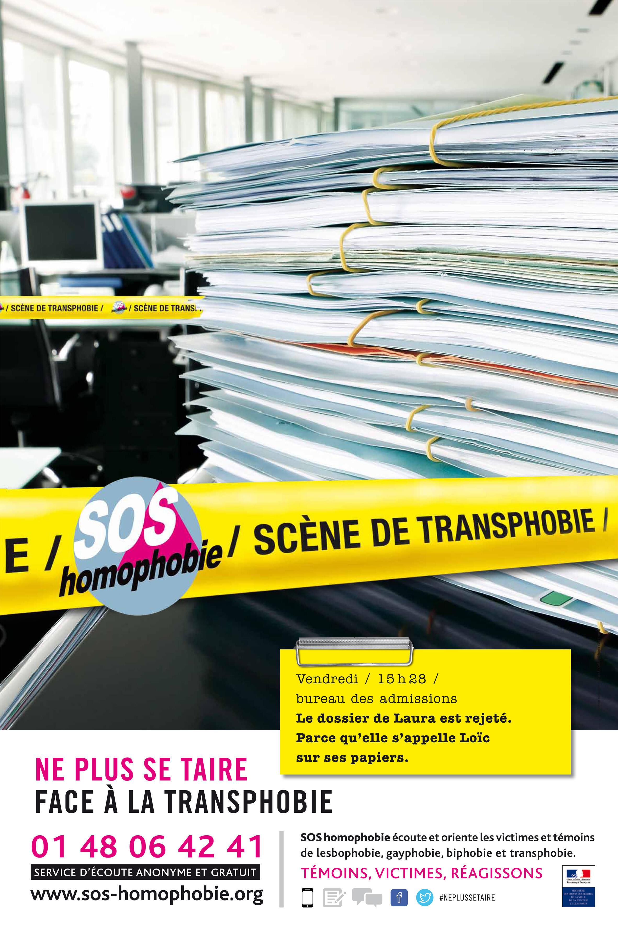 Affoiche d'une campagne de l'association SOS Homophobie pour dénoncer les discriminations dont sont victimes les transsexuels et transgenres.