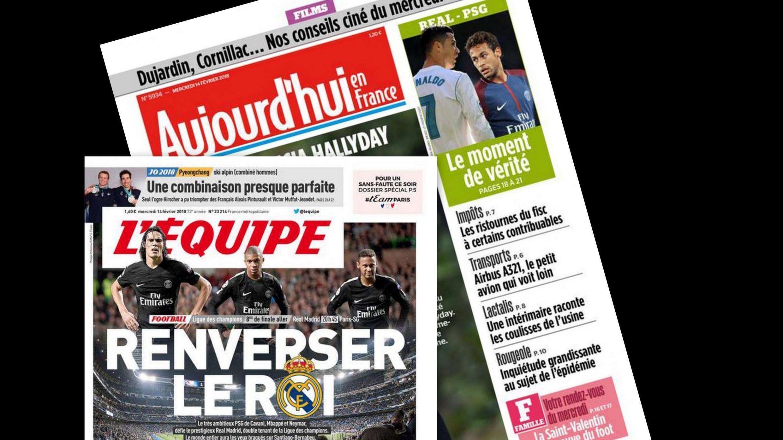 Duelo de titãs entre Cristiano Ronaldo, do Real Madrid, e Neymar, do PSG, no jogo de ida das oitavas de final da Liga dos Campeões, é o destaque da imprensa francesa nesta quarta-feira (14).