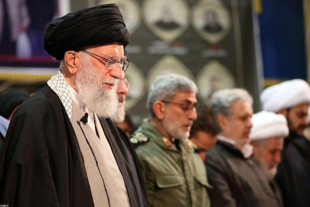 Le guide suprême iranien Ali Khamenei, le 6 janvier 2019 à Téhéran lors d'une cérémonie d'hommage à Qassem Soleimani et ses compagnons.