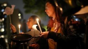 Des militants des FARC lors d'une veillée en mémoire des anciens guerilleros assassinés à Bogota le 25 février 2020 (image d'illustration).