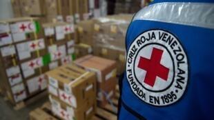 Các kiện hàng viện trợ tại trụ sở Hội Chữ Thập Đỏ Venezuela, Caracas, ngày 22/04/2019.