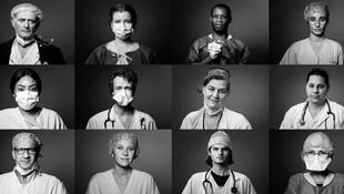 Retratos del personal médico del Hospital Georges-Pompidou de París.
