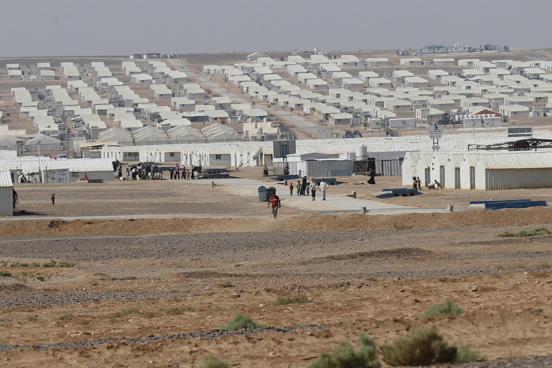 Le camps de réfugiers d'Azraq en Jordanie, le 19 août 2015. La frontière jordanienne avec la Syrie n'est plus ouverte aux refugies et 3000 Syriens sont coincés en plein désert.