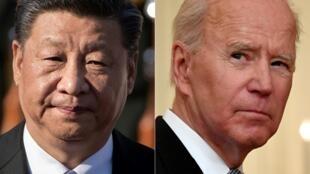 Sendas imágenes de los presidentes Xi Jinping (izq) y Joe Biden tomadas el 3 de julio de 2019 en Pekín y el 17 de mayo de 2021 en Washington, respecivamente