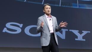 Ông Kazuo Hirai, Chủ tịch tập đoàn Sony tại triển lãm công nghệ Las Vegas, Hoa Kỳ, ngày 05/01/2015