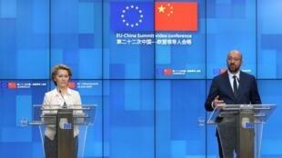 Le président du Conseil européen, Charles Michel, et la la présidente de la Commission européenne, Ursula von der Leyen, lors du sommet virtuel entre l'UE et la Chine, le 22 juin 2020.