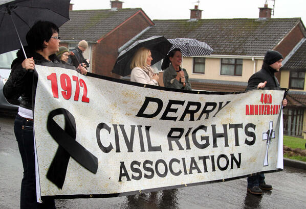 A banner in honour of the Derry Civil Rights Association, which called for equal rights between Catholics and Protestants.